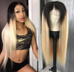 celebrity lace front wigs indian UK - Celebrity Wig Straight Ombre Color 613 Full Lace Wigs Silky 10A Brazilian Virgin Human Hair Blue Color Front Lace Wigs for Black Wig!
