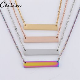 $enCountryForm.capitalKeyWord Australia - Blank Bar Pendant Necklace Stainless Steel Necklace Gold Rose Gold Silver Blank Bar Charm Pendant Jewelry For Buyer Own Engraving DIY