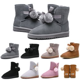 Round bow online shopping - Luxury Designer Women Boots Australia Classic Bailey Hairball Bow Tie Snow Booties Ankle Knee Girls Ladies Fashion Winter Boot