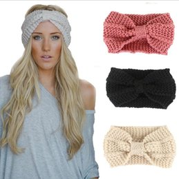 $enCountryForm.capitalKeyWord Australia - wool knit warm knot headbands winter bows hairbands women girl crochet headbands turban outdoor sports fitness headwrap cap beanies