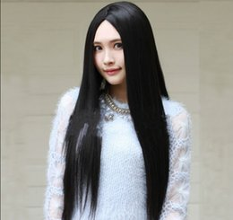 girl cosplay long black hair UK - Girl Long Straight Full Hair Cosplay Party Wig Synthetic Full Wig Black Fashion