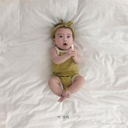 $enCountryForm.capitalKeyWord NZ - INS Summer Infant Baby Boys Girls Blank Rompers With Headbands 2pcs Set Solid Green Orange 100% Cotton Soft Quality Newborn Jumpsuits Onesie