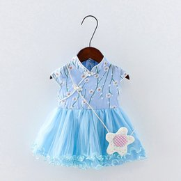 $enCountryForm.capitalKeyWord NZ - 2019 summer baby girls dress clothes chinese style flower printing dresses new infant toddler girls lace frock&clothing dress