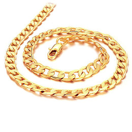 cuban chain 7mm Australia - Cuban Link Chain 7mm Width 18K Gold Plated with Inlaid Bronze Fashion Jewelry Necklaces for Men Boys Anniversary Gifts