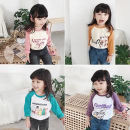 c24b586bf Autumn 2018 Korean style kids cartoon printed long raglan sleeve base T  shirts boys and girls cotton loose casual Tees