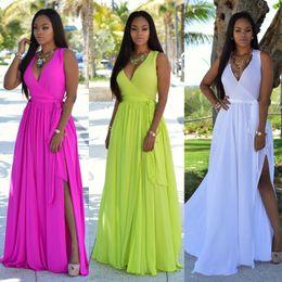 Wholesale boho fashion dresses for sale – plus size New Fashion Women Summer Long Maxi BOHO Party Dress Beach Dresses Sleeveless V neck Sundress Solid Sashes Dress