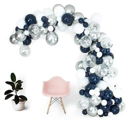 navy blue party supplies NZ - 112Pcs Balloon Arch Garland Kit, Navy Blue Chrome Silver White Balloon Set for Wedding Birthday Party Decoration and Supplies T200624