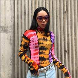 women sexy transparent tops Canada - 2019 Sexy Tie Dye Colorful Patchwork Turtleneck Long Sleeve T Shirts Women Transparent Mesh Tops Tees Harajuku Slim Clothing T200110
