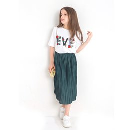 $enCountryForm.capitalKeyWord Australia - 2019 summer new fashion girls white short-sleeved green pleated skirt small fresh cool breathable two-piece suit