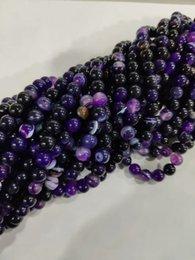 8 мм натуральный фиолетовый полоса агат оникс круглый драгоценный камень DIY свободные бусины 15