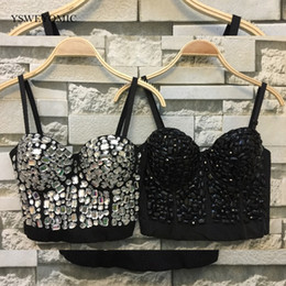 hands bras Canada - Sparkly High Quality New Hand-made Diamonds Bralet Corselets Women's Bustier Bra Cropped Top Wedding Bralette D-033