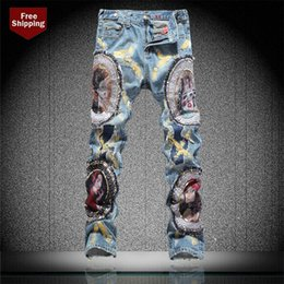 $enCountryForm.capitalKeyWord Australia - Men's COOL beauty patch embroidery ripped jeans Male light blue patchwork hole torn denim pants Long trousers size30-38 #08