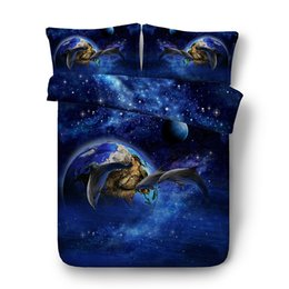 Ocean Bedding Australia - Blue Galaxy Dolphin Bedding Sets 3pcs Bed Cover With 2 Matching Pillowshams Tropical Ocean Sea Whale 3D Duvet Cover Set With Zipper Closure