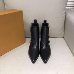 $enCountryForm.capitalKeyWord Australia - 2019 V Black Calf Leather Old Flower Patchwork Side Zipper Buckle Women Boots Lambskin Lining Ankle Booties 35-40