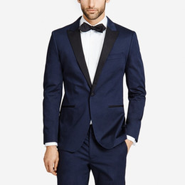 Beige Slim Suits For Men Australia - 2018 latest coat pant designs navy blue men suits for wedding prom peaked lapel slim fit male tuxedos homecoming costume 2 piece