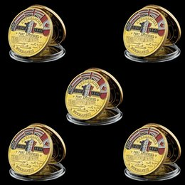 military challenge coins Canada - 5pcs Challenge Coin 1944 Great War United States Normandy War Victory Allied Military Army Gold Plated Coin