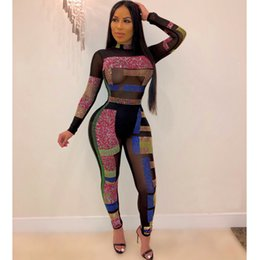 jumpsuit pencil pants Australia - Women's Siamese Jumpsuit Sex Hot Selling Foreign Trade Mesh Perspective Long-Sleeved Hot Drilling Sexy Nightclub Jumpsuit Pencil Pants