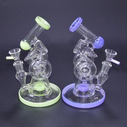 $enCountryForm.capitalKeyWord Australia - 7 Inch Green Purple Sidecar Glass Bong Slitted Donut Perc Glass Water Pipe Bongs Double Recycler Oil Dab Rig Smoking Rigs With Bowl