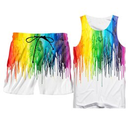 $enCountryForm.capitalKeyWord Australia - Fashion 3d Tank Tops Shorts Men's Sets Summer Pop 3d Rainbow Print Hoodie Vest Shorts Sets Oversize Hipster Sleeveless Tee Suits