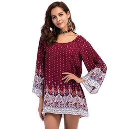 plus size hippie clothing NZ - Plus size 3XL WOMEN Clothing 2018 summer long sleeve beach mini dress floral print vintage Straight flare hippie boho Sundresses
