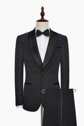 White Shawl Lapel Suit UK - Custom Made Groomsmen Shawl Lapel Groom Tuxedos One Button Men Suits Wedding Prom Dinner Best Man Blazer ( Jacket+Pants+Tie) G60