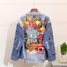 Wholesale women's jackets resale online – Women s Denim Jacket Fashion Graffiti print Long sleeve Designs Loose Jean Coat Female Casual Jaqueta Feminina Ladies Outerwear