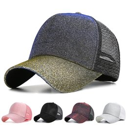 6f6f30f4718 Fashion Glitter Baseball Cap Women Snapback Hip Hop Caps Female Sequins  Shine Summer Hats Mesh Outdoor Hat Bone