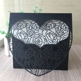 White Rose Card Wedding Australia - 20PCS  lot Elegance Luxury Hollow Envelope Wedding Invitation Cards Design With Rose And Big Heart Engagement Grand Event Universal Supplies