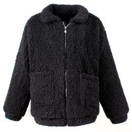 Wholesale women s camel color coats resale online - Women Lambswool Jacket Female Winter Warm Zipper Short Coat with Pocket Casual Basic Outerwear Camel Hairy Overcoat Plus Size