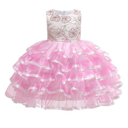 embroidered tutu UK - Girls Embroidery X Sequined Dress 2019 Kids Dresses For Girls Girl Princess Dress Kid Layere Party Dresses Kid Wedding Clothes For 110-150cm