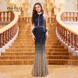 Discount prom dresses short cut - Navy Blue Sleeveless Mermaid Prom Dresses Cut-out Robe De Soiree Sequined Luxury Evening Gowns For Women Formal Dress