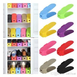 Double Color Bedding Australia - Simple Shoes Rack Solid Color Plastic Double Layer Stereo Receive Shoes Storage Hanger Saves space