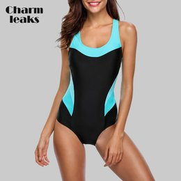 monikini swimwear NZ - Charmleaks One Piece Women Sports Swimwear Sports Swimsuit Patchwork Beachwear Bathing Suit Padded Monikini Bikini Y200319