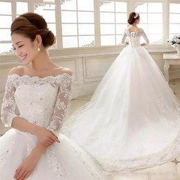 Elegant 2018 White Lace Wedding Dresses Boat Neck 3 4 Sleeves A-line Court  Train Lace-up Plus Size Bridal Wedding Gowns a069b8cd70b8