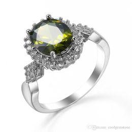 Gemstone Bands UK - New Fashion Brand Punk Band Rings hight quality Peridot Ring Attractive Design Gemstone Wedding Lovers Rings
