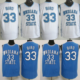 32a596c0c1f #33 Larry Bird Indiana State NCAA Jersey Mens All Stitched Larry Bird  University College Basketball Jerseys White Blue Fast Shipping