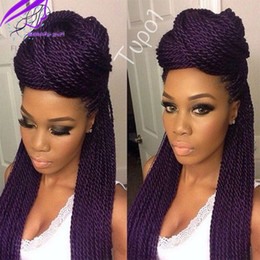 "micro braided wigs UK - Free Shipping Micro Braid Wig African American Braided Wigs for Black Women 26"" Synthetic Lace Front Wig Box Braids Lace Wigs Babyhair"
