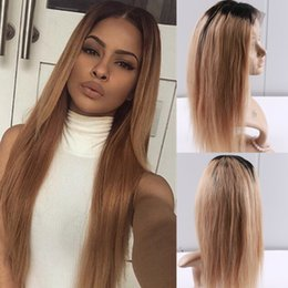 long straight dark brown wigs Australia - 8A Good quality Silky straight Brazilian human hair Ombre color brown full lace hair wig for women with baby hair lace front wig