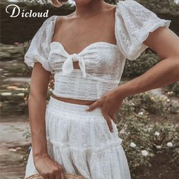 white lace short suit Australia - DICLOUD White Elegant Lace Cotton Dress Suit Women Summer Two Piece Set Sexy Bow Tie Crop Top and High Waist Embroidery Skirt