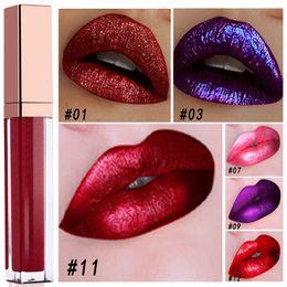 Lip gLosses 24 online shopping - Hot Shine Metal Lip Gloss Makeup colors Shimmer Waterproof Lipstick Long Lasting hours Lip Gloss Metallic Effect