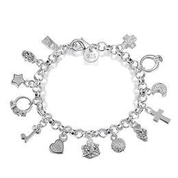 $enCountryForm.capitalKeyWord Australia - New 925 sterling silver chains bracelets Key lock Cross Rings Star Moon Love Heart charm Lobster clasp bangle For women Fashion Jewelry