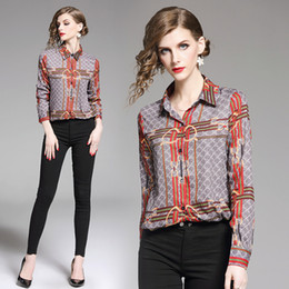 a1c329431 New Design 2019 Spring Runway Luxury Print OL Women's Ladies Fashion Casual  Office Button Front Lapel Neck Long Sleeve Blouses Shirts Tops
