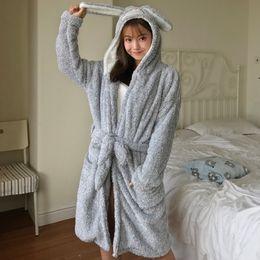 Women s Robes Cute Cartoon Cat Hooded Oneside Bath Robe Plush Coral Fleece  Nightgowns Female Winter Thicken Sleepwear 279c7e839