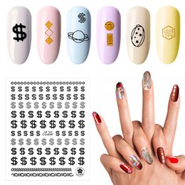 $enCountryForm.capitalKeyWord Australia - 1Pcs New 3D Transfer Stickers on Nails God Silver Black Letter Money $ Coins Pattern Nail Art Design Decals DIY Manicure