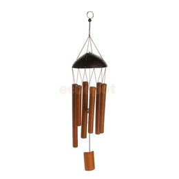 Discount rustic pendants - MagiDeal Rustic Bamboo 8-Tube Coconut Husk Pendant Church Bell Yard Garden Outdoor Home Living Wind Chime Handmade Windc