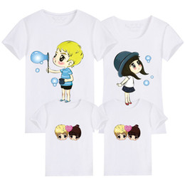 Corrispondenza Famiglia vestiti di cotone estate T-shirt stampata Mamma e figlia Padre e il Figlio di vestiti di sguardo della famiglia in Offerta