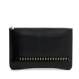 Cheap Handbag Bags Wholesale Australia - Rivet tassel envelope bag Promotion Personalized rivet tassel Clutch bag Cheap Pu leather Ladies Tassels Zip Cute Handbag