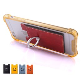 Wholesale Phone Stand Ring PU Leather Cell Phone Stick With Card Holder for iPhone Samsung Huawei Android Smartphones