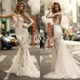 Light coraL Lace dress Long online shopping - 2019 Long Sleeves Gorgeous Mermaid Wedding Dresses Sexy Sheer Full Lace Applique Bride Dress See through Backless Bridal Gowns