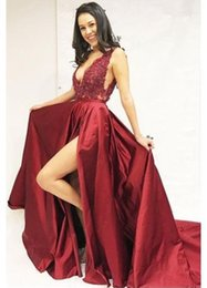 aaff0505fe2 One piece tOp dress online shopping - Sexy Front Split Burgundy Prom Party  Dresses Deep V